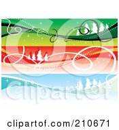 Digital Collage Of Three Colorful Christmas Headers With Landscapes And Ribbons