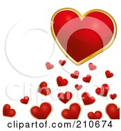 Royalty Free RF Clipart Illustration Of A Gold And Red Heart Over Tiny Red Hearts