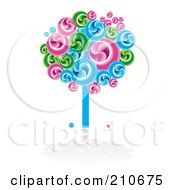Bright Swirly Fruit Tree In Blues Greens And Pinks