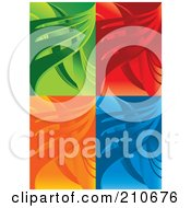 Royalty Free RF Clipart Illustration Of A Digital Collage Of Green Red Orange And Blue Wave Backgrounds