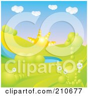 Royalty Free RF Clipart Illustration Of A 3d Golden Sun Rising Over A Hilly Landscape With Trees Flowers And A Pond