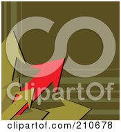 Royalty Free RF Clipart Illustration Of Red And Green Arrows Bursting From A Corner Of An Olive Green Background