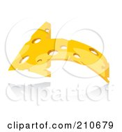 Royalty Free RF Clipart Illustration Of A Swiss Cheese Arrow Curving by MilsiArt
