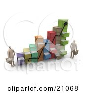 Clipart Illustration Of Two Businessmen Standing By A Chart Made Of Filing Cabinets With Random Open Drawers