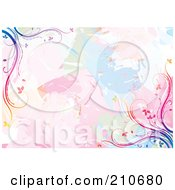 Royalty Free RF Clipart Illustration Of A Pastel Watercolor Background With Rainbow Vine Corners