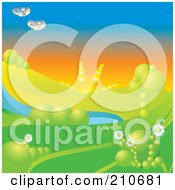 Royalty Free RF Clipart Illustration Of A 3d Afternoon Sun Setting Over A Hilly Landscape With Trees Flowers And A Pond