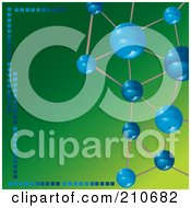 Royalty Free RF Clipart Illustration Of Blue Molecules Framing A Green Background by MilsiArt