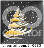 Royalty Free RF Clipart Illustration Of A Golden Spiral Christmas Tree On A Gray Starry Background by MilsiArt