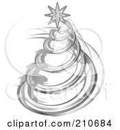 Royalty Free RF Clipart Illustration Of A Silver Spiral Christmas Tree With A Star On Top by MilsiArt