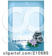 Royalty Free RF Clipart Illustration Of A Blue Spa Border With Flowers And Stacked Stones