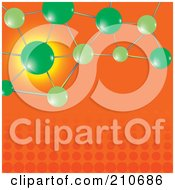 Royalty Free RF Clipart Illustration Of Green Molecules Over An Orange Halftone Background
