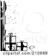 Royalty Free RF Clipart Illustration Of A Grungy Black And White Sparkly Christmas Corner Design With Gifts by MilsiArt