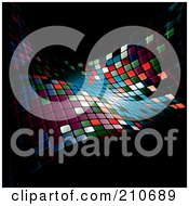 Royalty Free RF Clipart Illustration Of A Glowing Colorful Mosaic Wave On Black