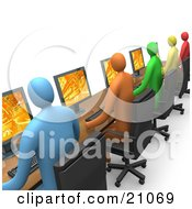 Clipart Illustration Of A Row Of Colorful Diverse Employees Working On Computers At A Long Desk In An Office