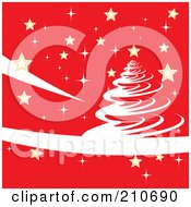 Royalty Free RF Clipart Illustration Of A White Christmas Tree Design On Red With Golden Stars by MilsiArt