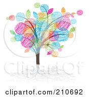 Royalty Free RF Clipart Illustration Of A Tree With Colorful Sketched Leaves by MilsiArt