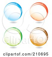 Royalty Free RF Clipart Illustration Of A Digital Collage Of Blue Orange Green And Brown Spheres With Shadows