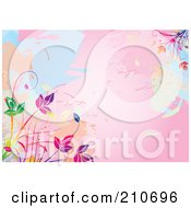 Pink Watercolor Background With Colorful Vines