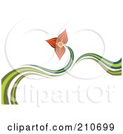 Royalty Free RF Clipart Illustration Of A Green Waves And An Orange Lily Flower by MilsiArt