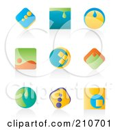 Royalty Free RF Clipart Illustration Of A Digital Collage Of Nine Colorful Icon Or Logo Designs With Shadows by MilsiArt #COLLC210701-0110