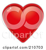 Royalty Free RF Clipart Illustration Of A Sparkle Shining Off Of A Red Heart