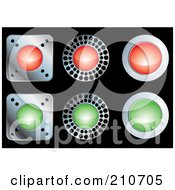 Royalty Free RF Clipart Illustration Of A Digital Collage Of Red Green And Chrome Buttons On Black by MilsiArt