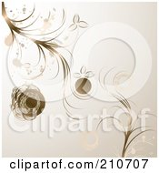 Royalty Free RF Clipart Illustration Of Bronze Flowers And Splatters Over Beige by MilsiArt