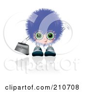 Royalty Free RF Clipart Illustration Of A Furry Guy Wearing Glasses And Carrying A Briefcase