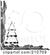 Royalty Free RF Clipart Illustration Of A Grungy Black And White Sparkly Christmas Tree Corner Design by MilsiArt