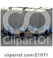 Clipart Illustration Of A Group Of Blue People Holding A Membership Meeting At A Circular Table