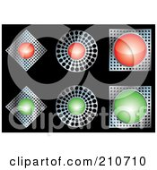 Royalty Free RF Clipart Illustration Of A Digital Collage Of Red Chrome And Green Diamond Circle And Square Buttons by MilsiArt