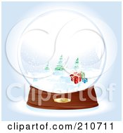 Snow Globe With Presents Near Evergreens