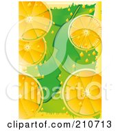 Royalty Free RF Clipart Illustration Of A Citrus Background Of Orange Slices Over Green by MilsiArt