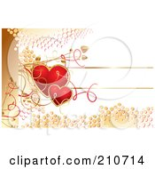 Red Hearts And Golden Dots Over White With Vines