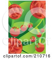 Background Of Cherry Tomatoes And Green Leaves