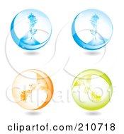 Royalty Free RF Clipart Illustration Of A Digital Collage Of Blue Orange And Green Splash Spheres by MilsiArt