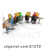 Colorful Diverse Office Workers Using Computers On A Curved Desk