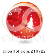 Royalty Free RF Clipart Illustration Of A Shiny Red Christmas Tree And Starry Globe