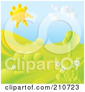 Royalty Free RF Clipart Illustration Of A 3d Sun Shining Over A Hilly Landscape