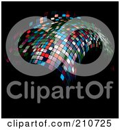 Royalty Free RF Clipart Illustration Of A Floating Mosaic Wave On Black