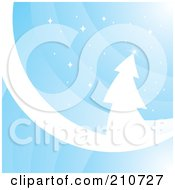 Blue Curve And White Evergreen Background