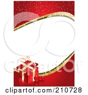 Royalty Free RF Clipart Illustration Of A Sparkly Red Gift Border With White Space by MilsiArt