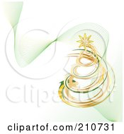 Royalty Free RF Clipart Illustration Of A Golden And Green Coil Christmas Tree With Mesh Green Waves On White by MilsiArt