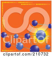 Royalty Free RF Clipart Illustration Of Purple Molecules Over An Orange Background