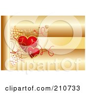 Golden Background With Red Hearts And Text Space