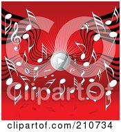 Royalty Free RF Clipart Illustration Of A Music Notes And Sound Waves Around A Play Music Speaker On Red