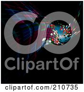Royalty Free RF Clipart Illustration Of Wavy Mosaic Tiles Fading Into Black