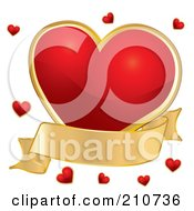 Plump Red Heart With A Gold Banner And Tiny Red Hearts