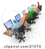 Clipart Illustration Of Colorful Diverse Computer Users Working On Computers In An Internet Cafe