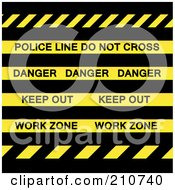 Royalty Free RF Clipart Illustration Of Police Line Do Not Cross Danger Keep Out And Work Zone Strips Over Black